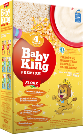 BABY KING PREMIUM RICE AND CORN CEREALS WITH MILK RICH IN VITAMINS AND MINERALS