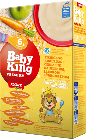 BABY KING PREMIUM RICE AND CORN CEREALS WITH MILK, APPLE AND CARROT RICH IN VITAMINS AND MINERALS