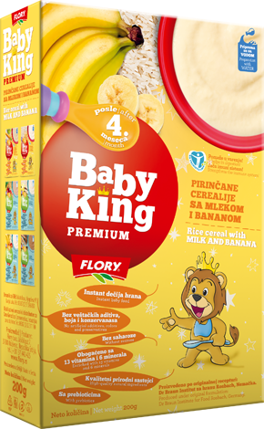 BABY KING PREMIUM RICE CEREAL WITH MILK AND BANANA RICH IN VITAMINS AND MINERALS