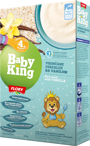 BABY KING RICE CEREAL WITH VANILLA RICH IN VITAMINS AND MINERALS RICH IN VITAMINS AND MINERALS