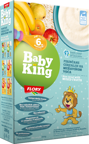 BABY KING RICE CEREAL WITH MIXED FRUITS RICH IN VITAMINS AND MINERALS