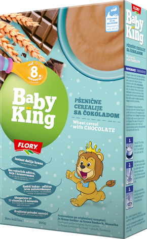 BABY KING WHEAT CEREAL WITH CHOCOLATE RICH IN VITAMINS AND MINERALS