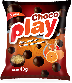 CHOCO PLAY FLIPS COATED IN BLACK CHOCOLATE