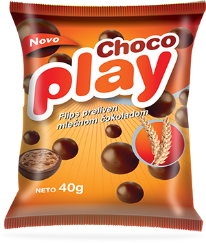 Choco play flips coated in milk chocolate
