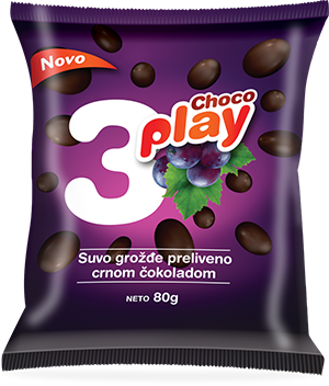 CHOCO PLAY RAISINS COATED IN BLACK CHOCOLATE
